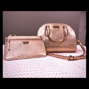 Kate Spade New York Rose Gold Mini Riley and Pouch